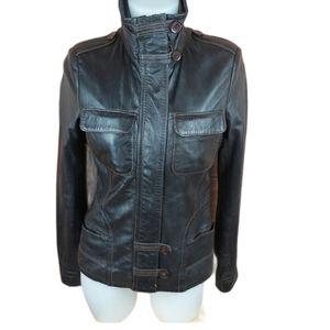 Danier super soft genuine dark brown leather coat